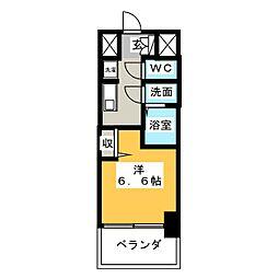 エステムコート名古屋グロース 2階1Kの間取り
