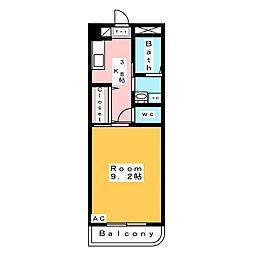 エムワンクルーズ東浅井 1階1Kの間取り