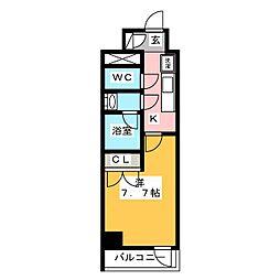 ディームス神楽坂I 8階1Kの間取り
