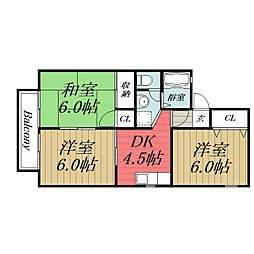 千葉県市原市山木の賃貸アパートの間取り