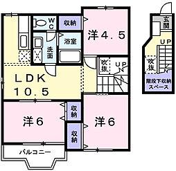 兵庫県姫路市辻井4丁目の賃貸アパートの間取り