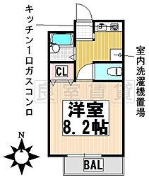 愛知県名古屋市千種区赤坂町2丁目の賃貸アパートの間取り