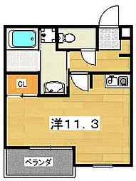 Luchile II 3階ワンルームの間取り