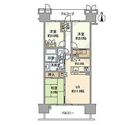 神奈川県川崎市川崎区中瀬3丁目の賃貸マンションの間取り