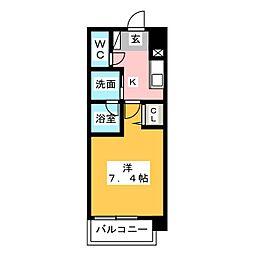 ヴィークブライト名古屋新栄 11階1Kの間取り
