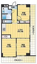 センターロイヤル[3階]の間取り