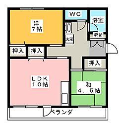 コーポ岳美A[4階]の間取り