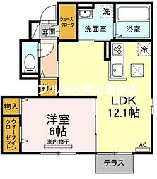 (仮)D-room神下 1階1LDKの間取り