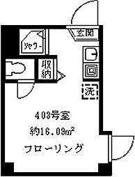プレシャスイージス 4階ワンルームの間取り