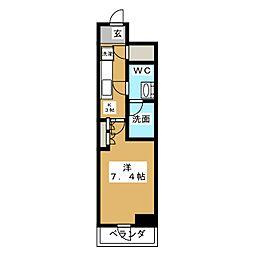HY´S亀戸 4階1Kの間取り