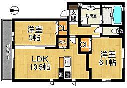 (仮称)D-room大安寺II[302号室]の間取り
