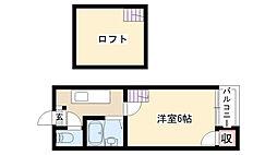 愛知県名古屋市昭和区広路町6丁目の賃貸アパートの間取り