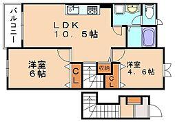 ベルデュールII[2階]の間取り