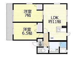 南海高野線 初芝駅 徒歩4分の賃貸アパート 1階2LDKの間取り