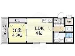 Osaka Metro御堂筋線 長居駅 徒歩6分の賃貸マンション 3階1LDKの間取り