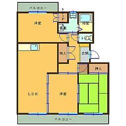 熊本県熊本市南区田迎2丁目の賃貸マンションの間取り