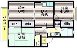 東京都三鷹市北野1の賃貸アパートの間取り