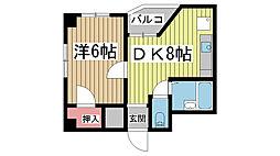 花隈ダイヤハイツ[622号室]の間取り