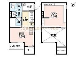 大阪府堺市堺区老松町2丁の賃貸アパートの間取り