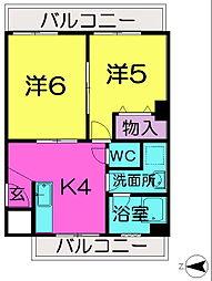 奈良県奈良市富雄北2丁目の賃貸マンションの間取り