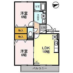 富山県富山市西公文名町の賃貸アパートの間取り