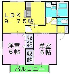 ソレジオ早島 1階2LDKの間取り
