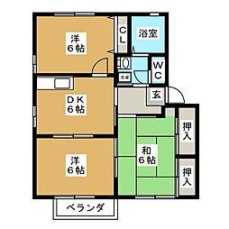 ツインセフィラ D[1階]の間取り