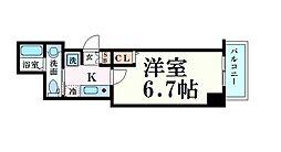 名古屋市営名城線 東別院駅 徒歩8分の賃貸マンション 4階1Kの間取り