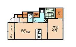 福岡市地下鉄空港線 福岡空港駅 バス15分 下志免下車 徒歩3分の賃貸アパート 1階1LDKの間取り
