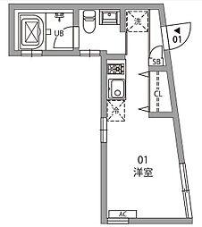 東京都中野区中央2丁目の賃貸アパートの間取り