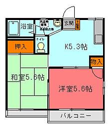 清栄コーポD[202号室]の間取り