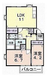 岡山県倉敷市福江丁目なしの賃貸アパートの間取り