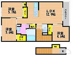 岡山県岡山市北区今保丁目なしの賃貸アパートの間取り