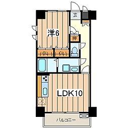 Hermitage 2階1LDKの間取り