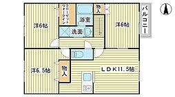 兵庫県たつの市揖保川町神戸北山の賃貸アパートの間取り