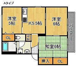 サニーコート半田A〜F棟[1階]の間取り