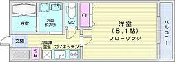 バリュー2 3階1Kの間取り