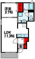 グリーンベル 1階1LDKの間取り