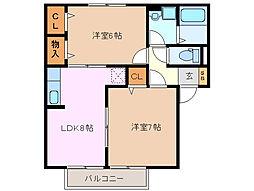 プレミールボヌールE・F棟[2階]の間取り