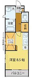 JR仙山線 東照宮駅 徒歩7分の賃貸アパート 1階ワンルームの間取り