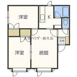 札幌市営南北線 麻生駅 徒歩15分の賃貸アパート 2階2LDKの間取り
