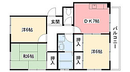 兵庫県西宮市大屋町の賃貸マンションの間取り