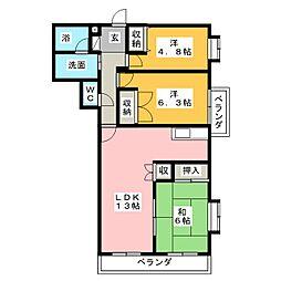 Kボヌール[1階]の間取り