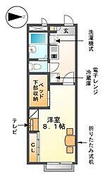 愛知県あま市七宝町鷹居1丁目の賃貸アパートの間取り