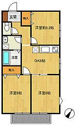 旭区中沢1丁目 ソレイユ102号室[1階]の間取り
