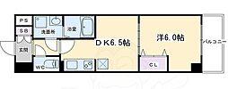 ベラジオ京都西大路ウエスト 2階1DKの間取り