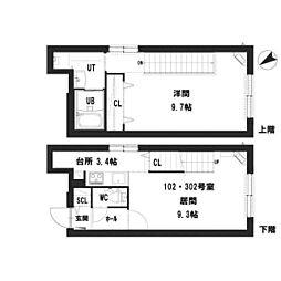 仮)グランメール 宮の沢2-1II 3階1LDKの間取り