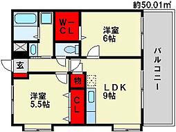サンパティークメゾンK・I[6階]の間取り