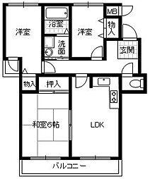 エステート松尾[3階]の間取り