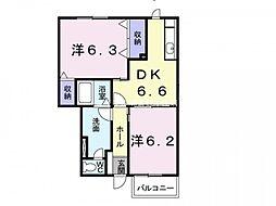 岡山県倉敷市西阿知町の賃貸アパートの間取り